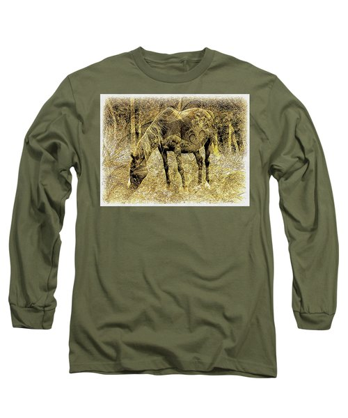 Horse Grazing On Pasture 2 Long Sleeve T-Shirt