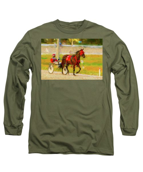 Horse, Harness And Jockey Long Sleeve T-Shirt by Les Palenik