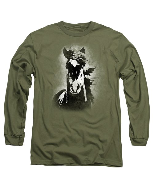 Horse Overlay Long Sleeve T-Shirt by Mim White