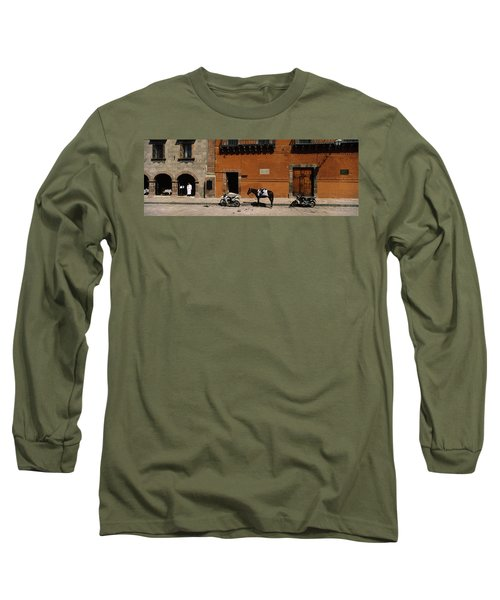 Horse Standing Between Two Motorcycles Long Sleeve T-Shirt