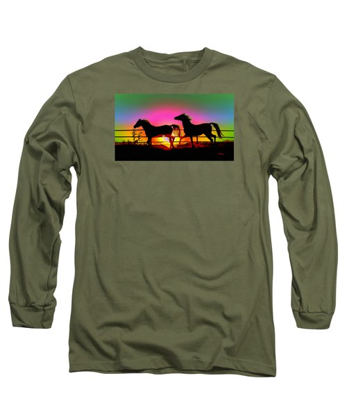 Horse Sunset Long Sleeve T-Shirt