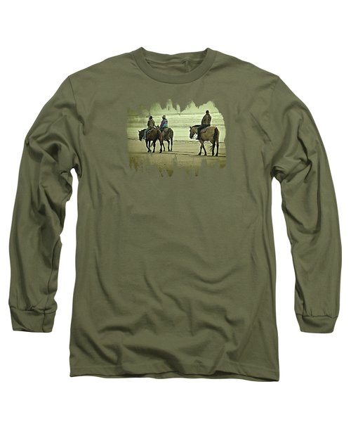 Long Sleeve T-Shirt featuring the photograph Horseback Riding On The Beach by Thom Zehrfeld