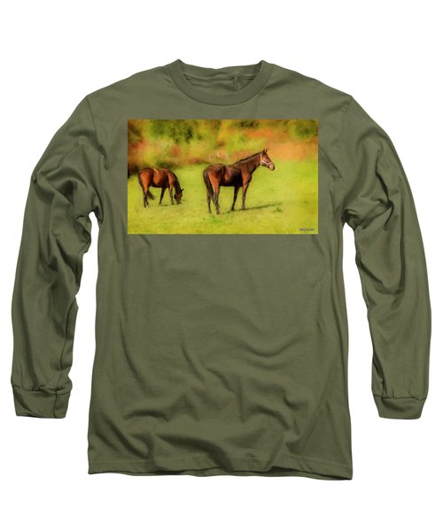 Horses In The Pasture Long Sleeve T-Shirt