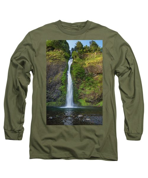 Long Sleeve T-Shirt featuring the photograph Horsetail Falls In Spring by Greg Nyquist