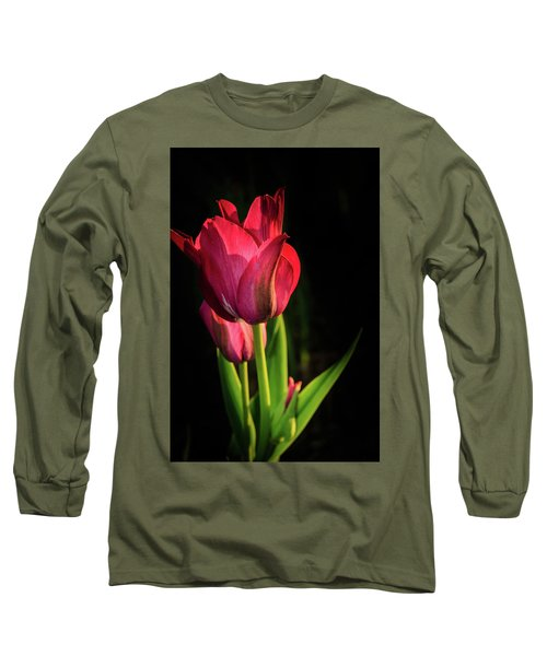 Hot Pink Tulip On Black Long Sleeve T-Shirt