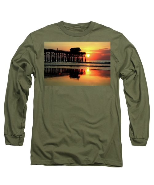Hot Sunrise Over Cocoa Beach Pier  Long Sleeve T-Shirt