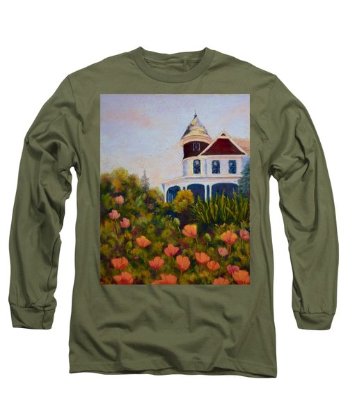Long Sleeve T-Shirt featuring the painting House On The Hill by Nancy Jolley