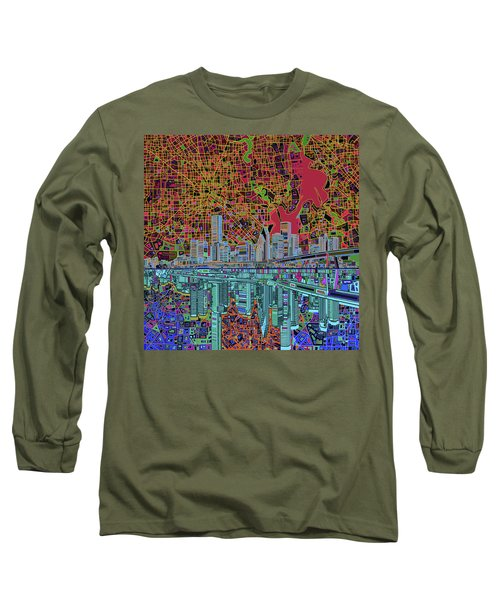 Houston Skyline Abstract 3 Long Sleeve T-Shirt by Bekim Art