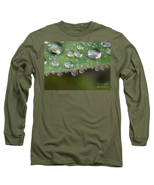 How Many Raindrops Can A Leaf Holds. Long Sleeve T-Shirt by Kim Tran