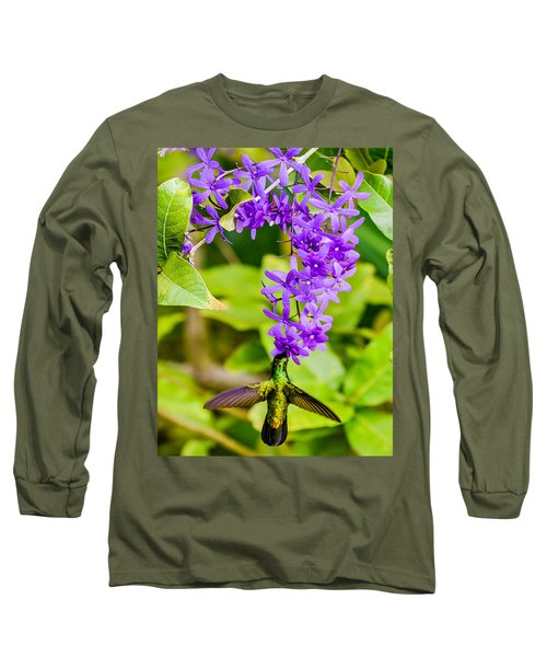 Humming Bird Flowers Long Sleeve T-Shirt