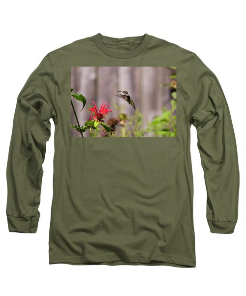 Humming Bird Hovering Long Sleeve T-Shirt by David Stasiak