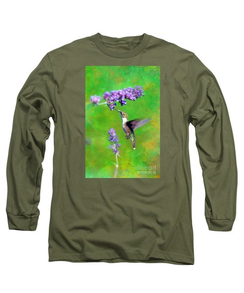 Long Sleeve T-Shirt featuring the photograph Humming Bird Visit by Lila Fisher-Wenzel