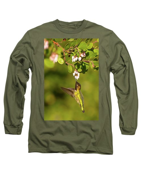 Hummingbird And Manzanita Blossom Long Sleeve T-Shirt