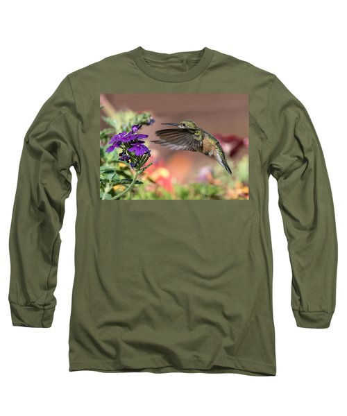 Hummingbird And Purple Flower Long Sleeve T-Shirt