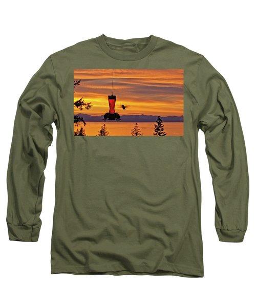 Hummingbird At Sunset. Long Sleeve T-Shirt
