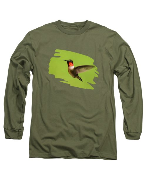 Long Sleeve T-Shirt featuring the painting Hummingbird Defender by Christina Rollo