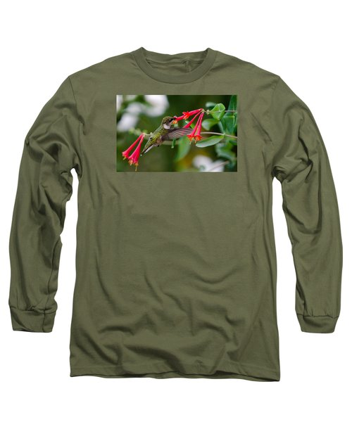 Long Sleeve T-Shirt featuring the photograph Hummingbird Feeding by Gary Wightman