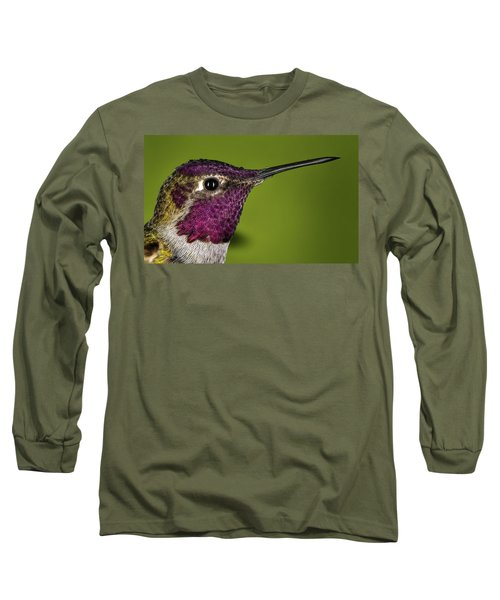 Hummingbird Head Shot With Raindrops Long Sleeve T-Shirt by William Lee