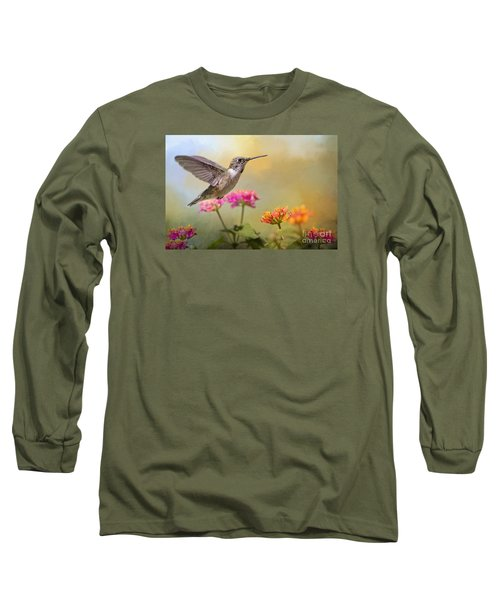 Hummingbird In The Garden Long Sleeve T-Shirt by Bonnie Barry