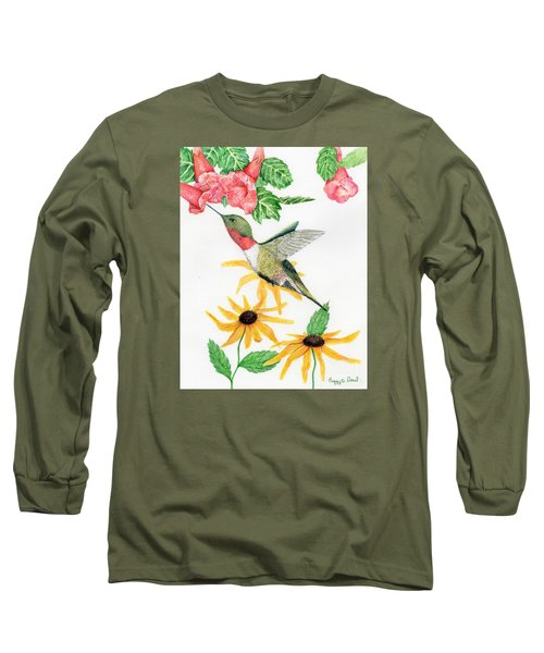 Long Sleeve T-Shirt featuring the painting Hummingbird by Peggy A Borel
