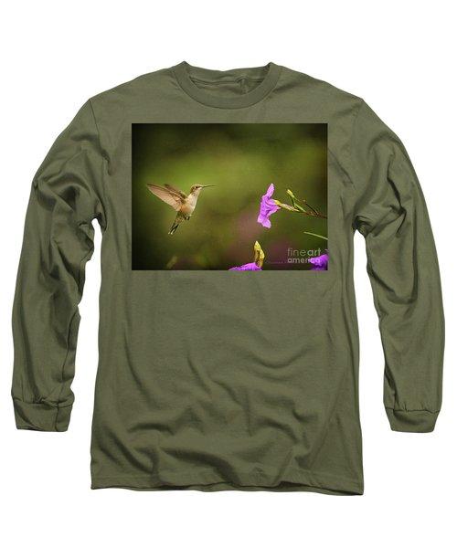 Hummingbird Pink Flower Long Sleeve T-Shirt