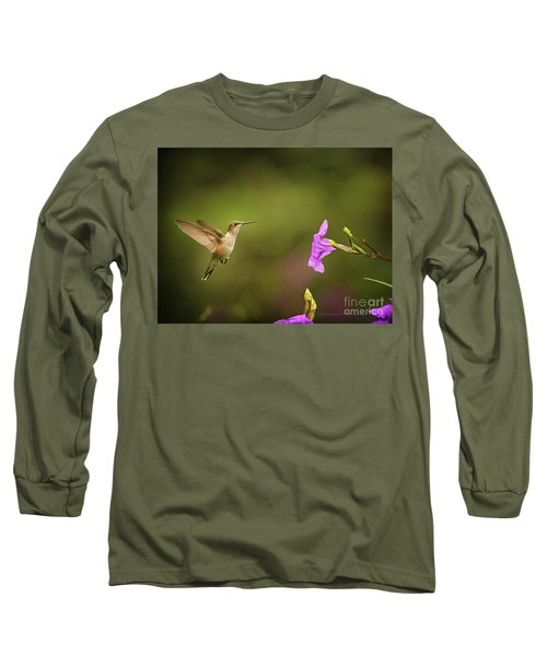 Hummingbird Pink Flower Long Sleeve T-Shirt