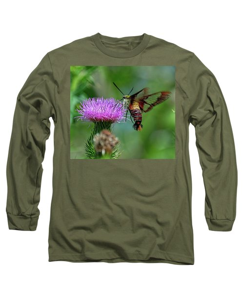 Hummingbirdbird Moth Dining Long Sleeve T-Shirt