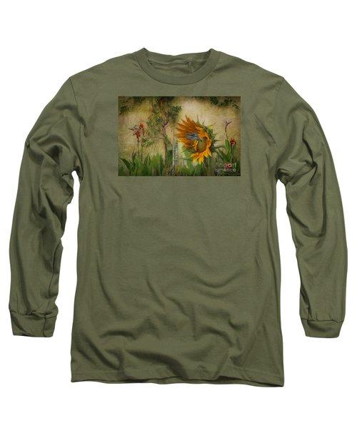 Hummingbirds In My Garden Long Sleeve T-Shirt by John  Kolenberg
