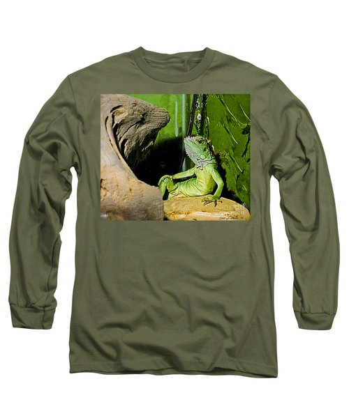Humorous Pet Iguana Photo Long Sleeve T-Shirt by Carol F Austin