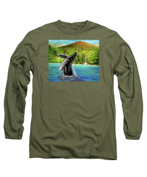 Humpback Whale Breaching At Haleakala Hawaii Long Sleeve T-Shirt