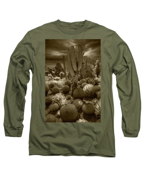 Huntington Botanical Desert Garden In California In Sepia Tone Long Sleeve T-Shirt