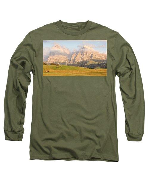 Huts On The Alpe Di Siusi Long Sleeve T-Shirt