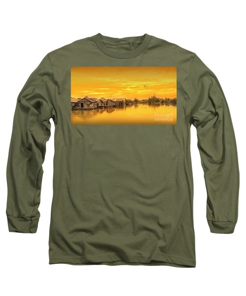 Long Sleeve T-Shirt featuring the photograph Huts Yellow by Charuhas Images