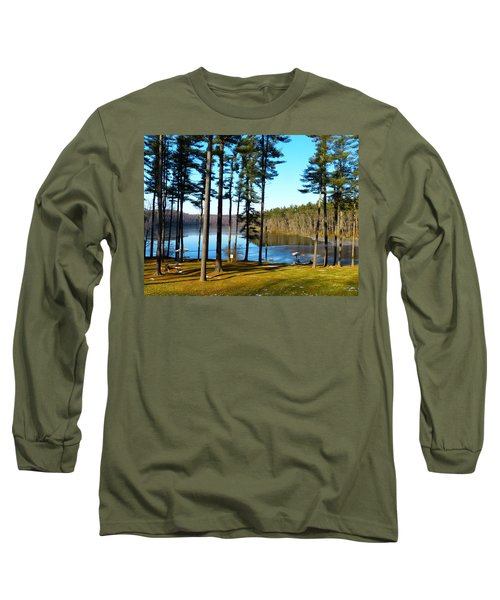 Ice On The Water Long Sleeve T-Shirt by Donald C Morgan