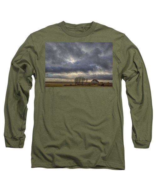 Long Sleeve T-Shirt featuring the tapestry - textile Iceland Buildings by Kathy Adams Clark