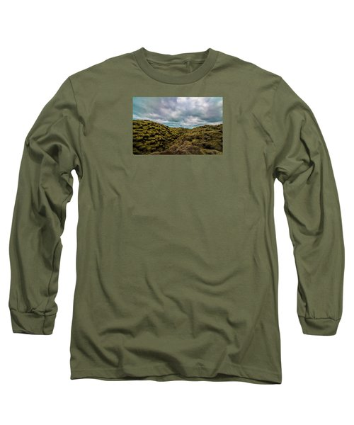 Iceland Moss And Clouds Long Sleeve T-Shirt by Venetia Featherstone-Witty