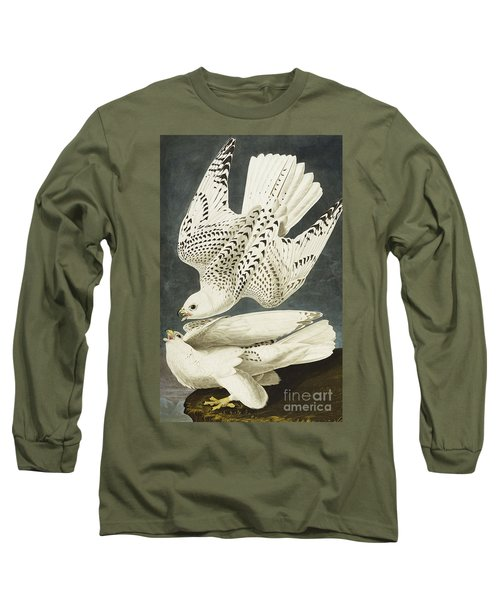 Iceland Or Jer Falcon Long Sleeve T-Shirt by John James Audubon