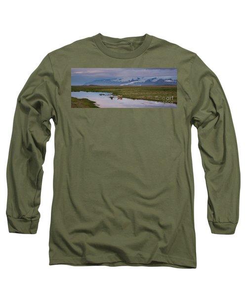 Iceland Sheep Reflections Panorama  Long Sleeve T-Shirt