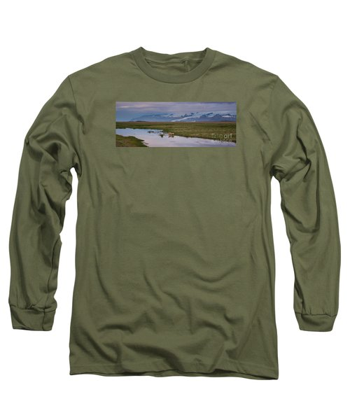 Iceland Sheep Reflections Panorama  Long Sleeve T-Shirt