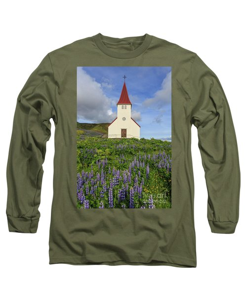 Long Sleeve T-Shirt featuring the photograph Icelandic Church Among The Fields Of Lupine by Edward Fielding