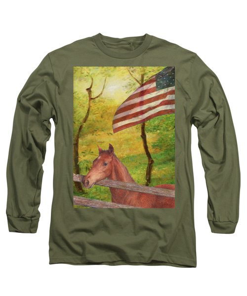 Illustrated Horse In Golden Meadow Long Sleeve T-Shirt