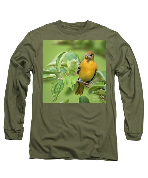 Immature Baltimore Oriole  Long Sleeve T-Shirt by Ricky L Jones