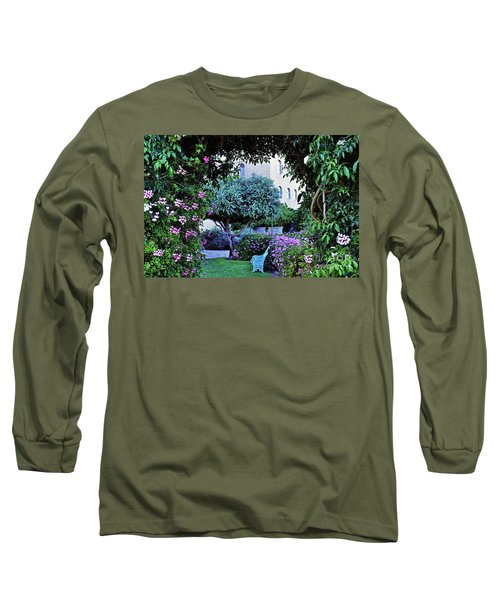 In The Garden At Mount Zion Hotel  Long Sleeve T-Shirt by Lydia Holly