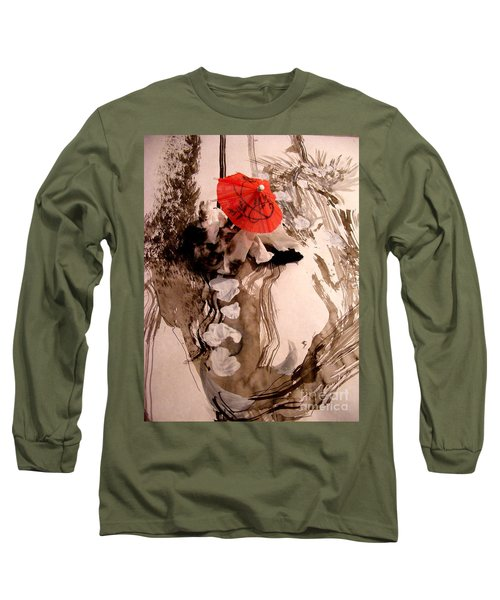 Long Sleeve T-Shirt featuring the mixed media In The Winter Garden by Nancy Kane Chapman