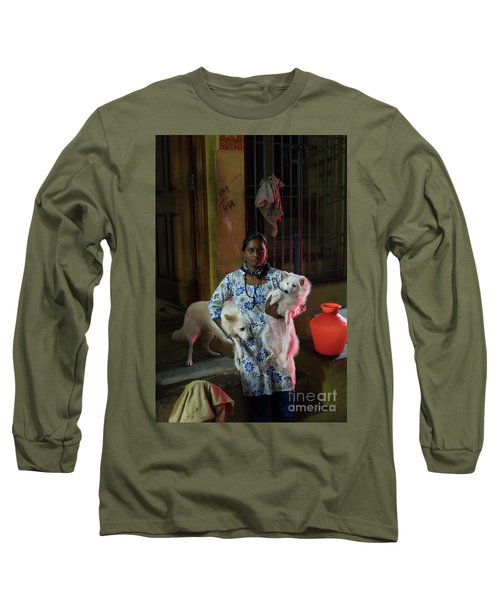 Long Sleeve T-Shirt featuring the photograph Indian Woman And Her Dogs by Mike Reid