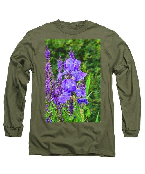Indigo In Nature  Long Sleeve T-Shirt by Bijan Pirnia