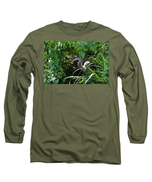Injure Blue Heron Long Sleeve T-Shirt by Donna Brown