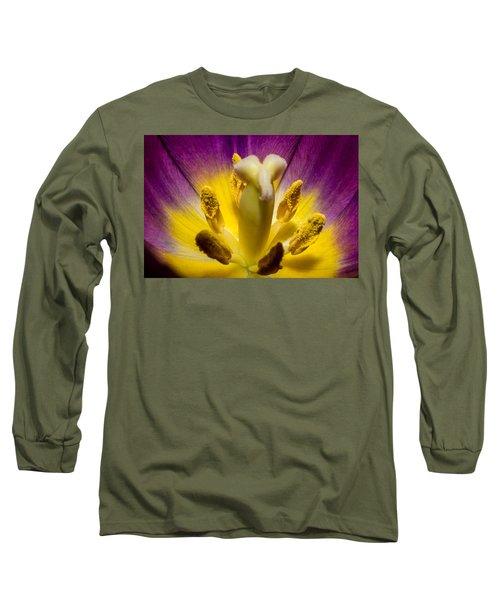 Inside A Purple Tulip Long Sleeve T-Shirt by Rainer Kersten