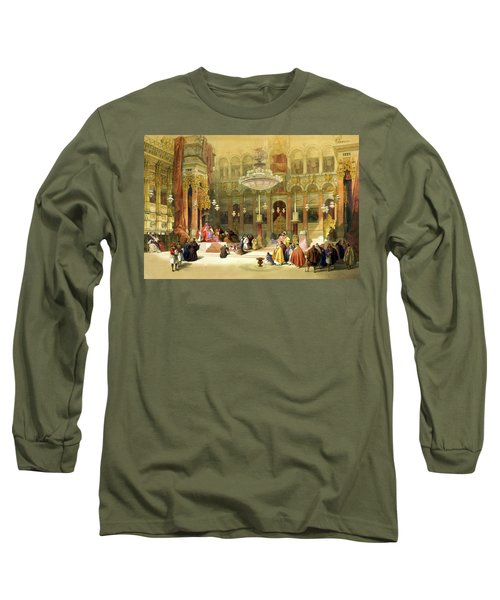Inside The Church Of The Holy Sepulchre Long Sleeve T-Shirt by Munir Alawi