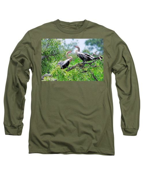 Interacting Young Anhingas Long Sleeve T-Shirt by Rosalie Scanlon